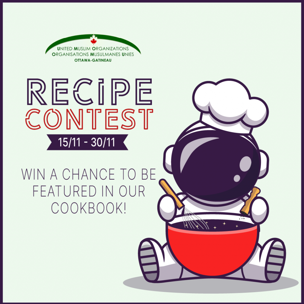 Recipe contest poster, featuring an avatar in a chef's hat holding a mixing bowl