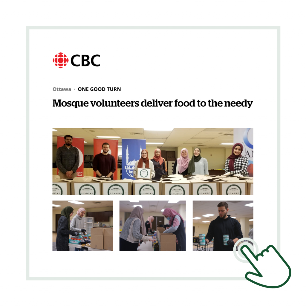 CBC graphic with photos of volunteers packing boxes